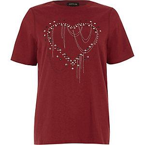 Rood T-shirt met hart en studs