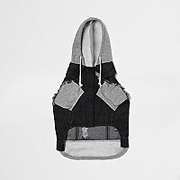 Black RI Dog washed denim hybrid hoodie