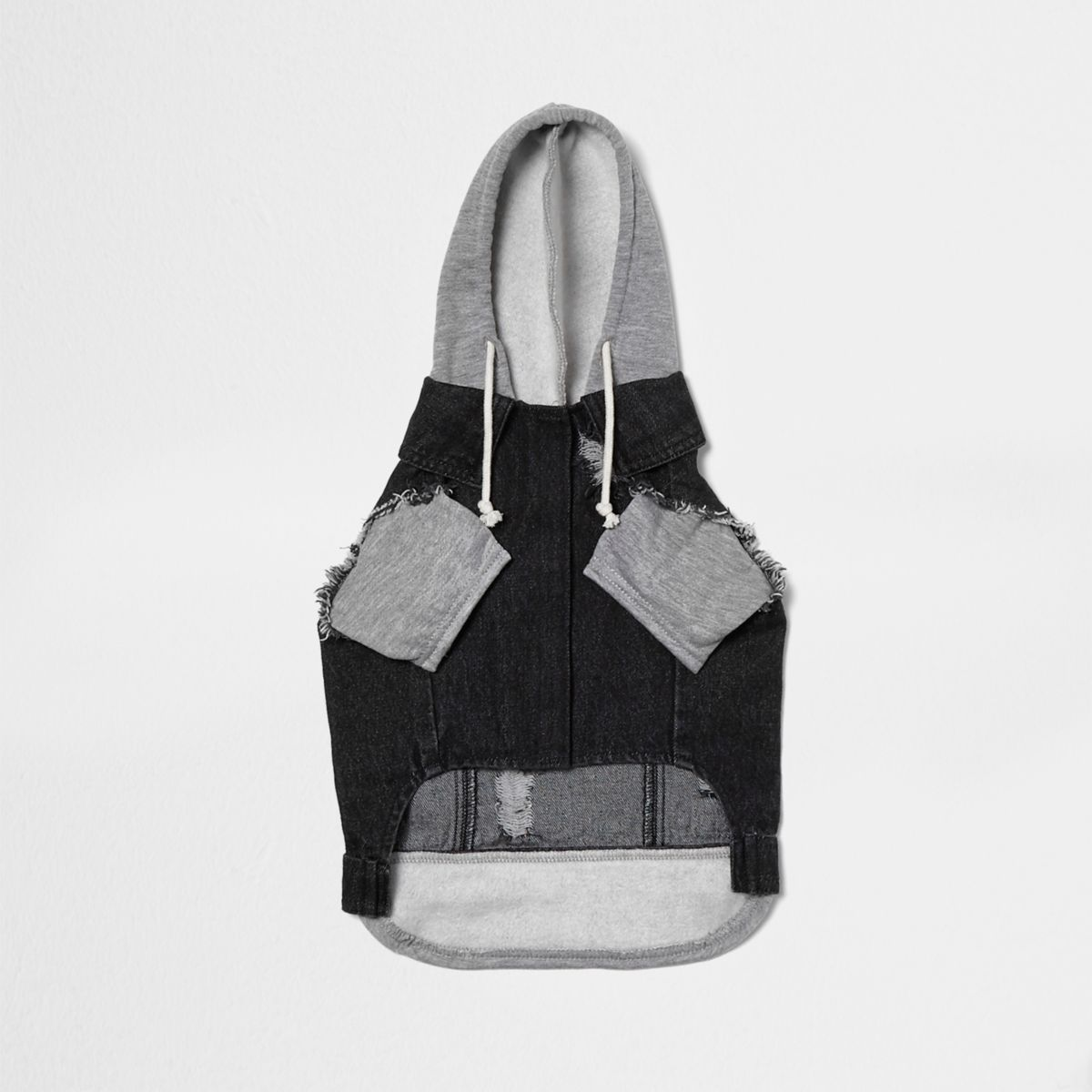 RI Dog - Zwarte washed denim hybride hoodie