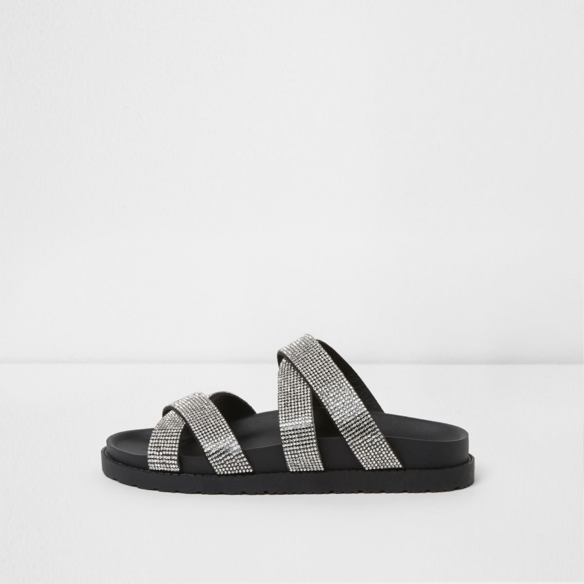 Black heatseal stud cross strap sliders