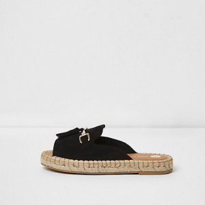 Black backless espadrille loafers