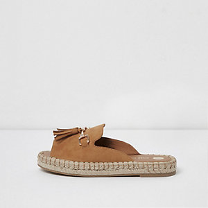 Light brown backless espadrille loafers