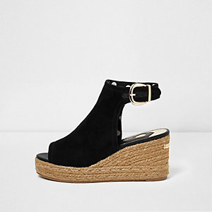 Black faux suede espadrille wedges