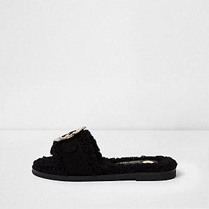 Black faux shearling rhinestone brooch sliders