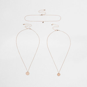 Rose gold tone circle layer necklace set