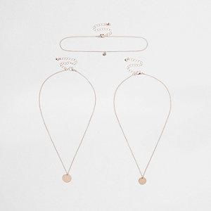 Rose gold tone circle layer necklace set