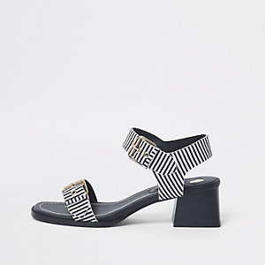 Navy stripe two part block heel sandals