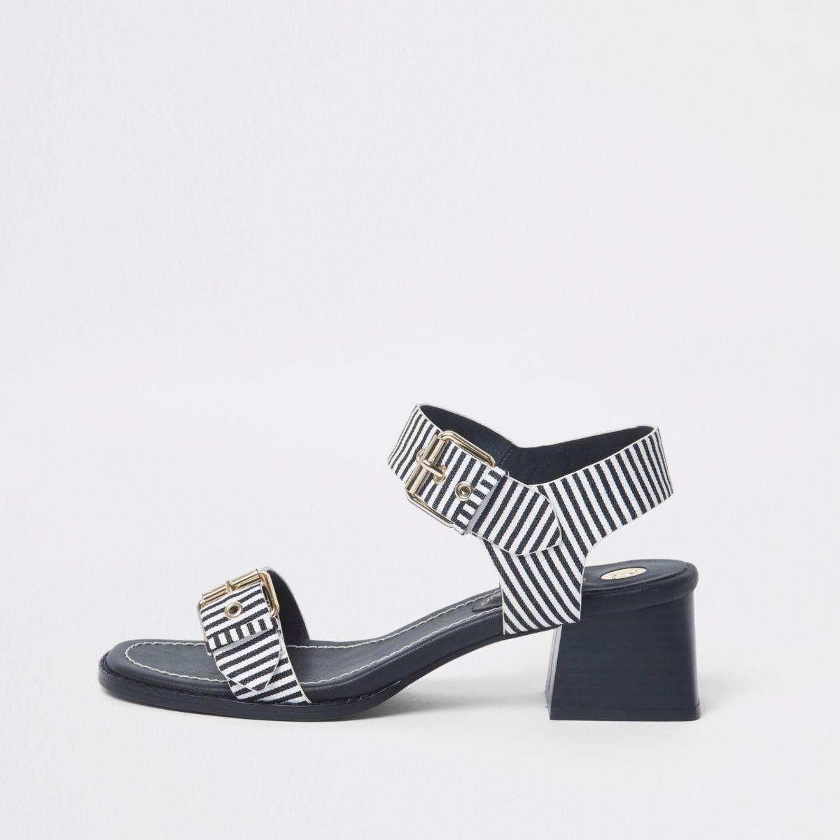 Marineblauwe gestreepte tweedelige sandalen met blokhak