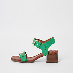 Green two part block heel sandals