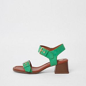 Sandales vertes en deux parties à talon carré