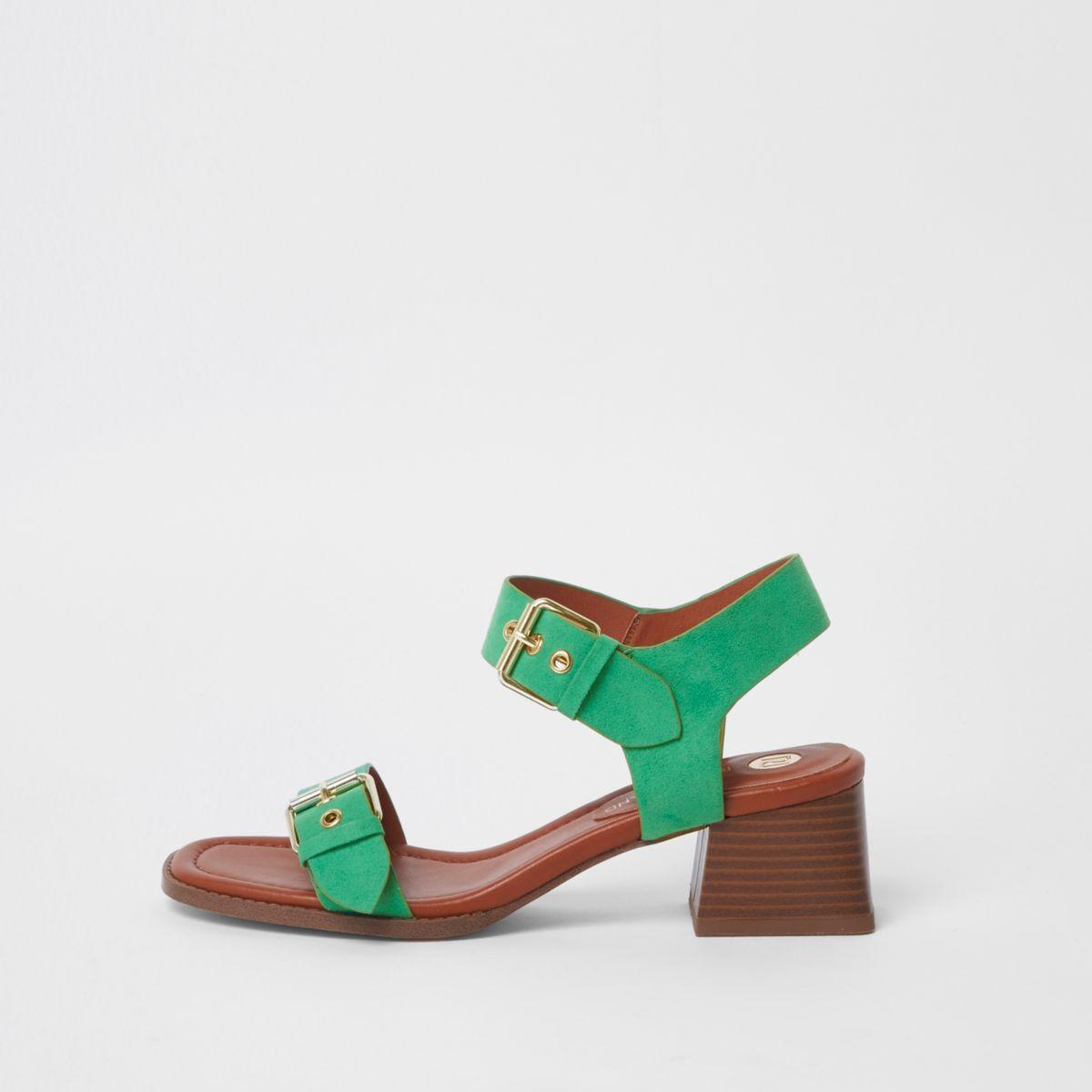 Green two part block heel sandals
