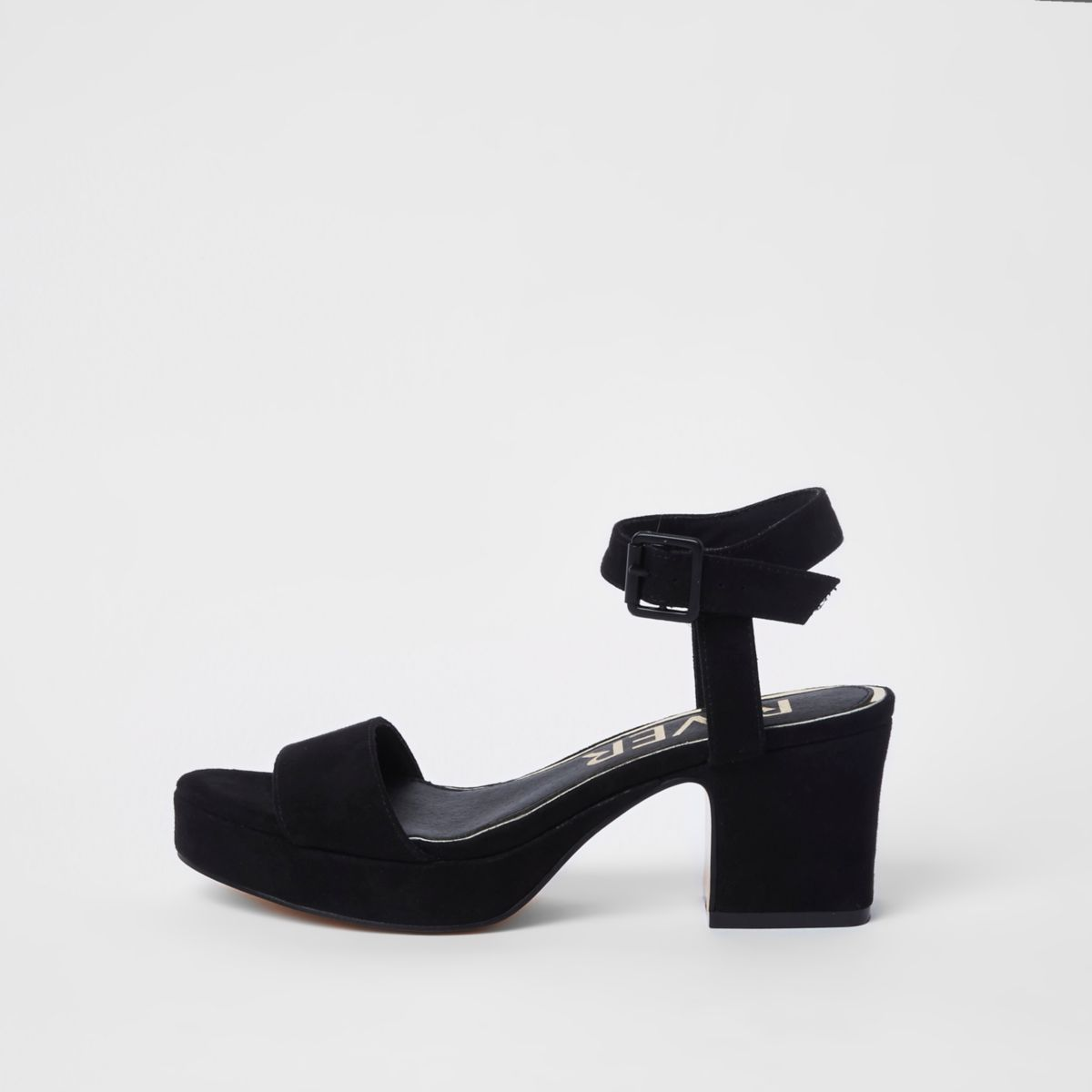 Black open toe block heel sandals