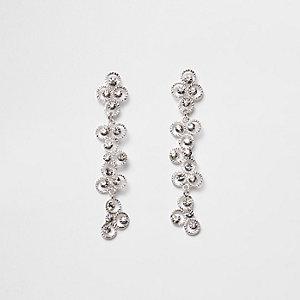 Silver tone rhinestone dangle drop earrings