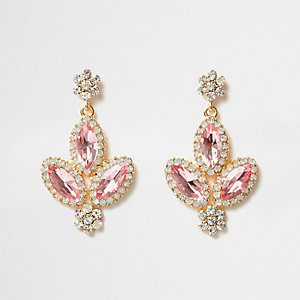 Pink jewel embellished drop earrings