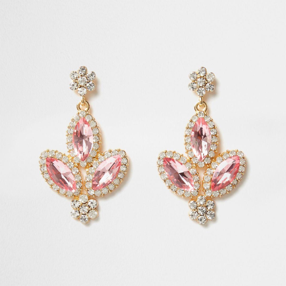 Pink jewel embellished drop earrings