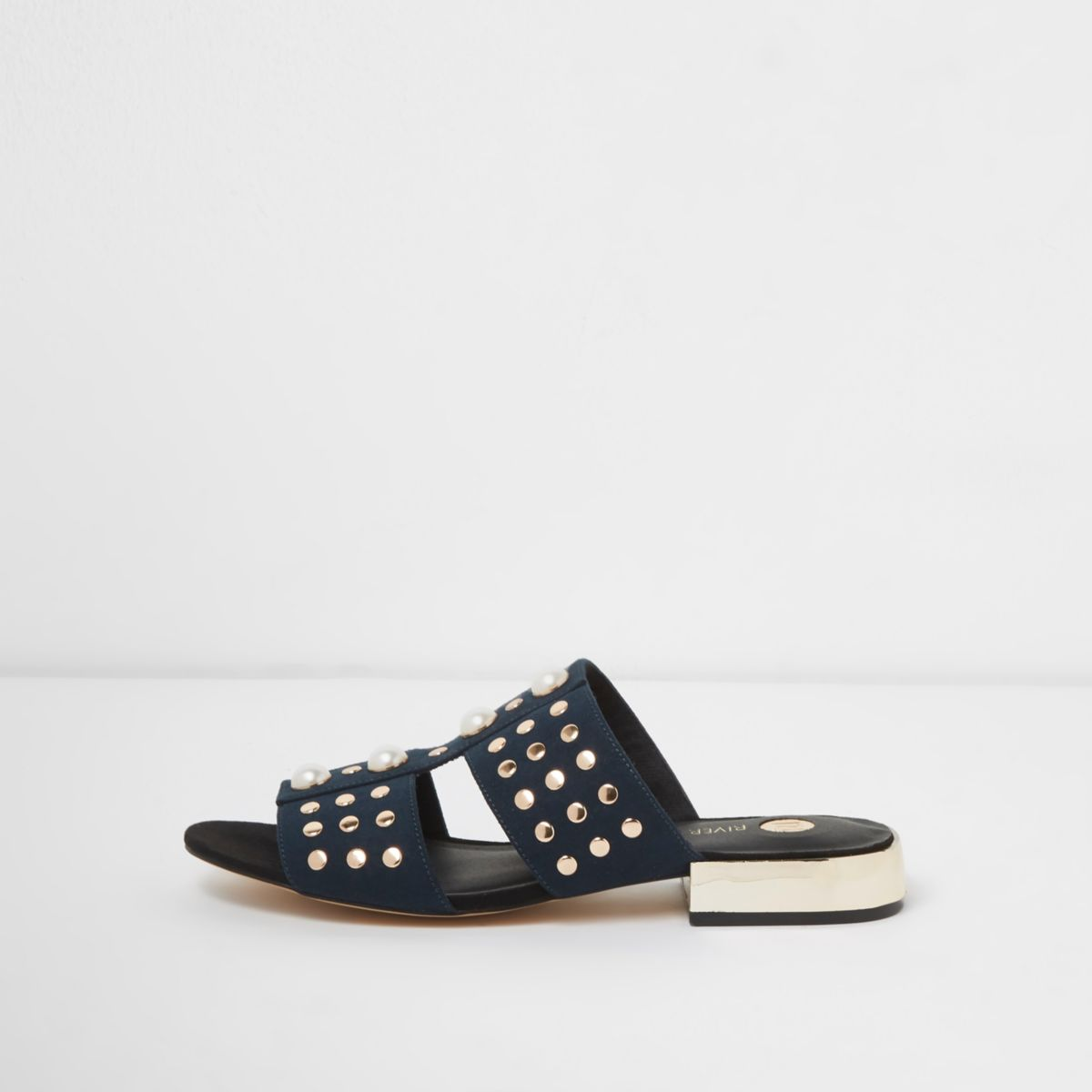 Navy faux pearl studded mules