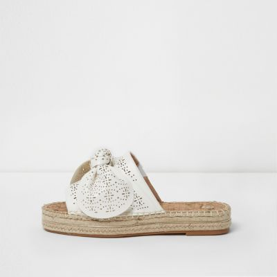 River Island White laser cut bow espadrille mules