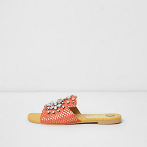 Orange jacquard embellished mules