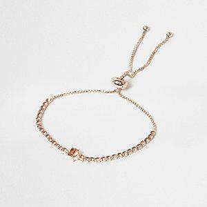 Bracelet lasso à gros maillons couleur or rose