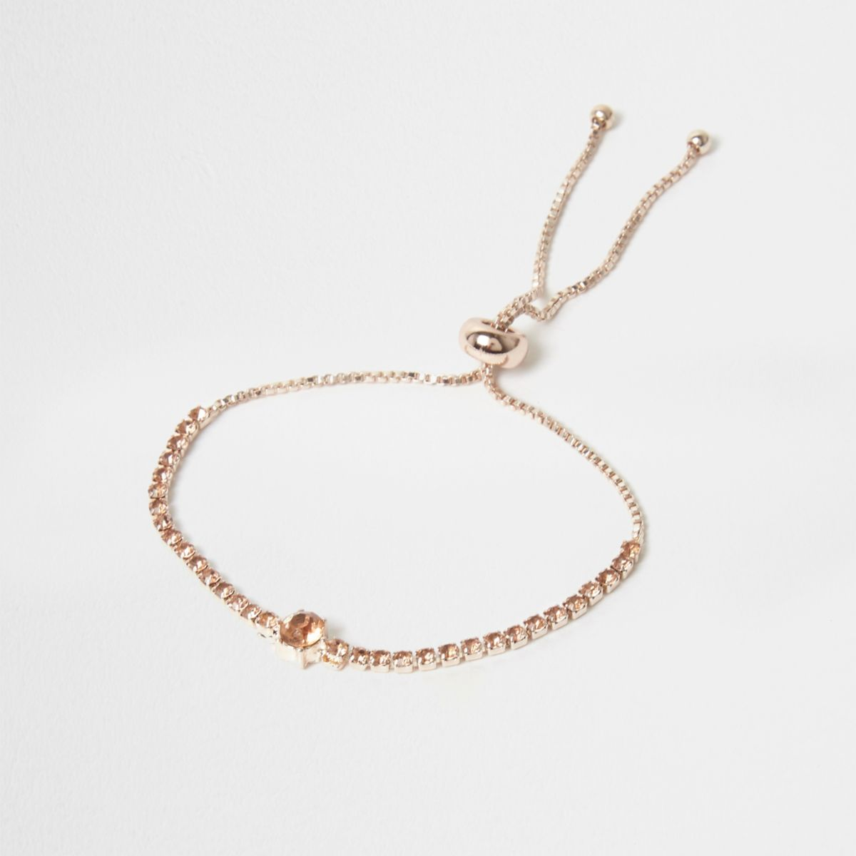 Rose gold tone cup chain lariat bracelet
