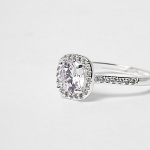 Silver tone diamante square ring