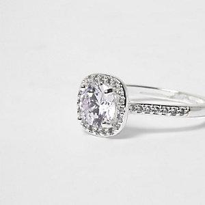 Silver tone rhinestone square ring