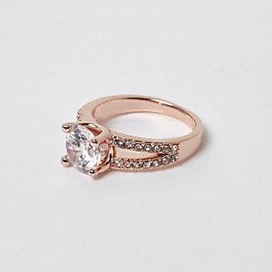 Roségoudkleurige gespleten ring met siersteentjes