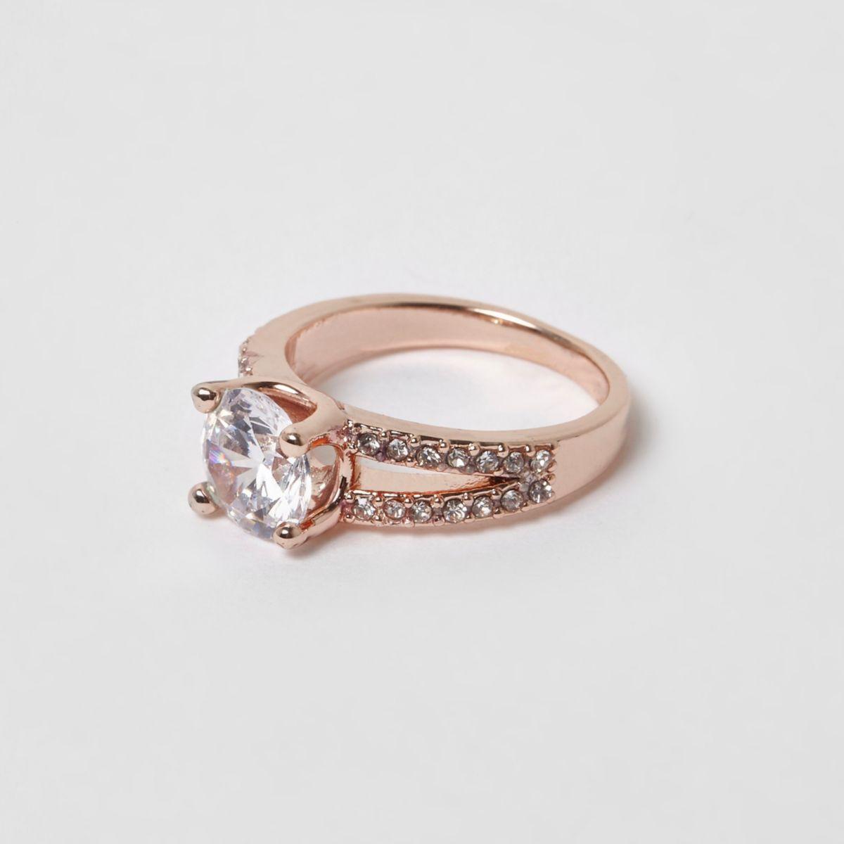 Rose gold tone split band rhinestone ring