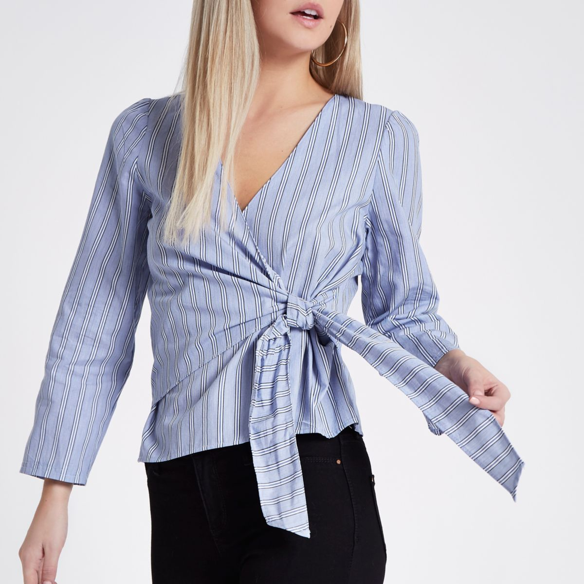 Petite blue stripe wrap long sleeve top