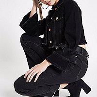 Black distressed cropped denim jacket