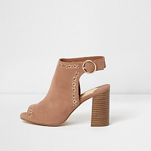 Nude eyelet stud block heel shoe boots