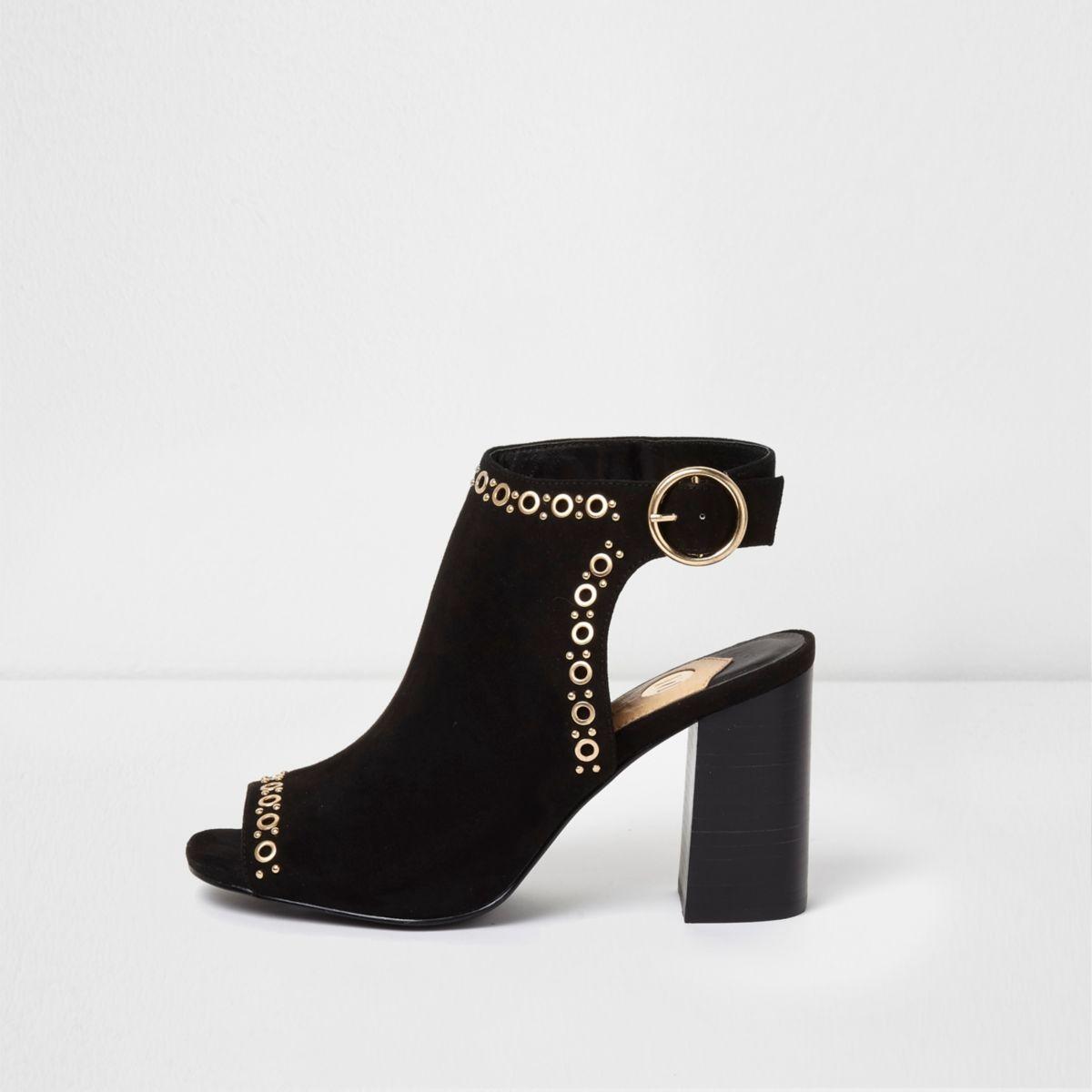 Black eyelet stud block heel shoe boots
