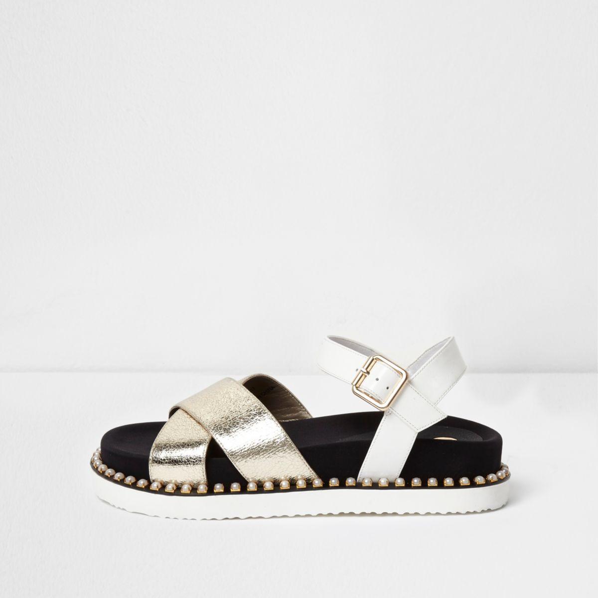 White sporty metallic faux pearl sandals