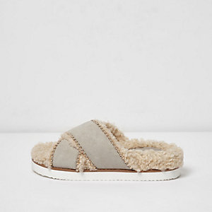 Light grey faux shearling footbed sliders