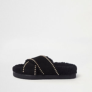 Black shearling footbed studded sliders