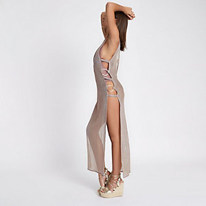 Light pink mesh ring side maxi beach dress