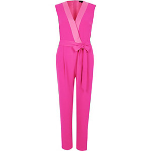 Bright pink tie waist tailored jumpsuit