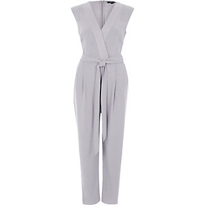 Light grey tie waist tailored jumpsuit
