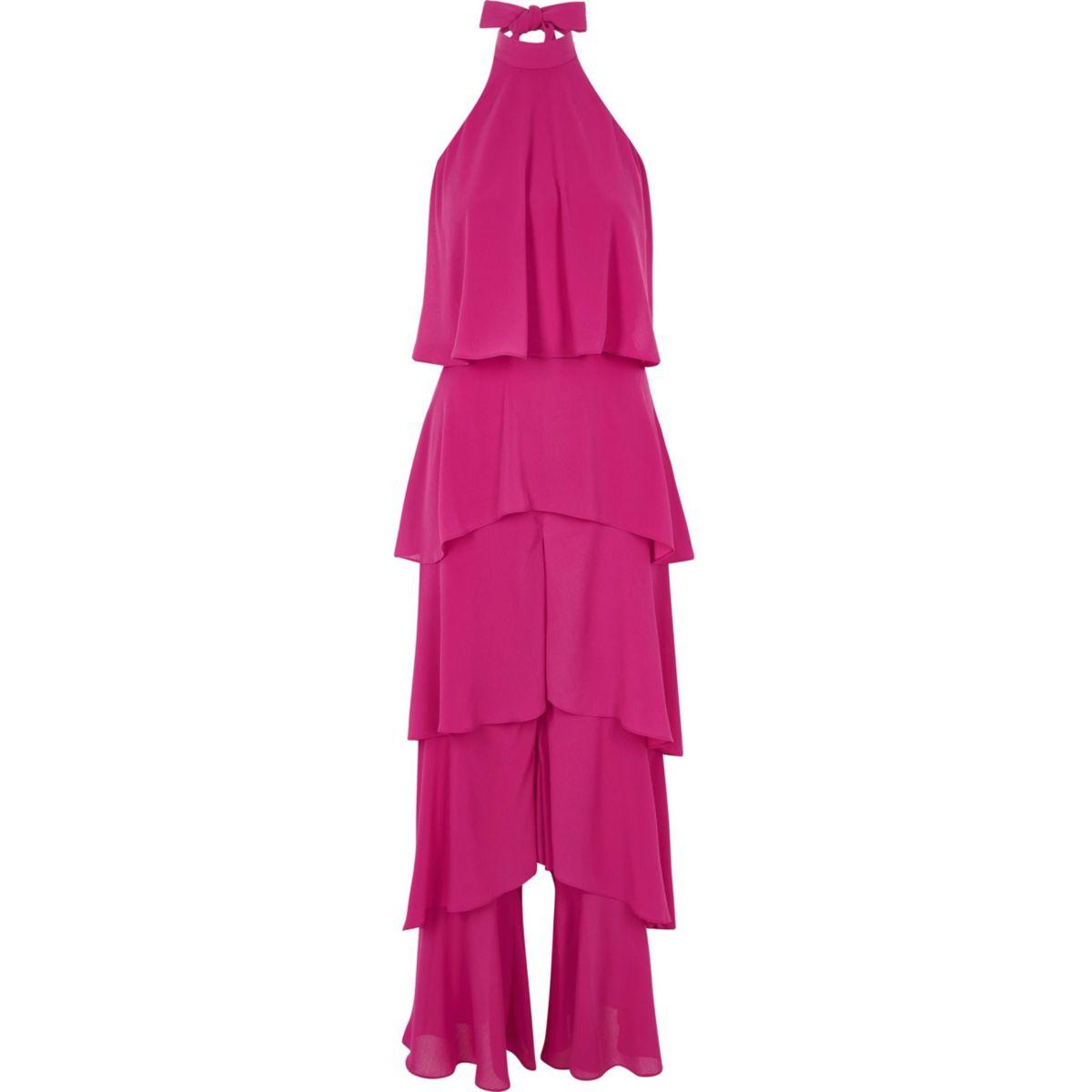 Bright pink wide leg halter frill jumpsuit