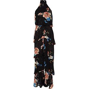 Combinaison dos nu à pantalon large à fleurs noir