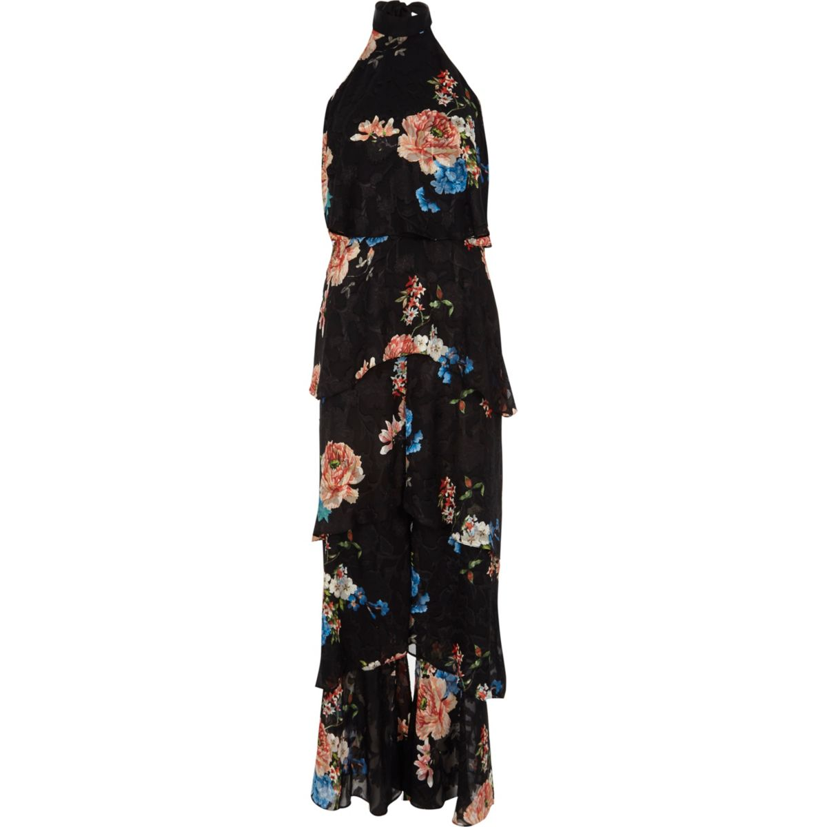 Black floral frill wide leg halter jumpsuit