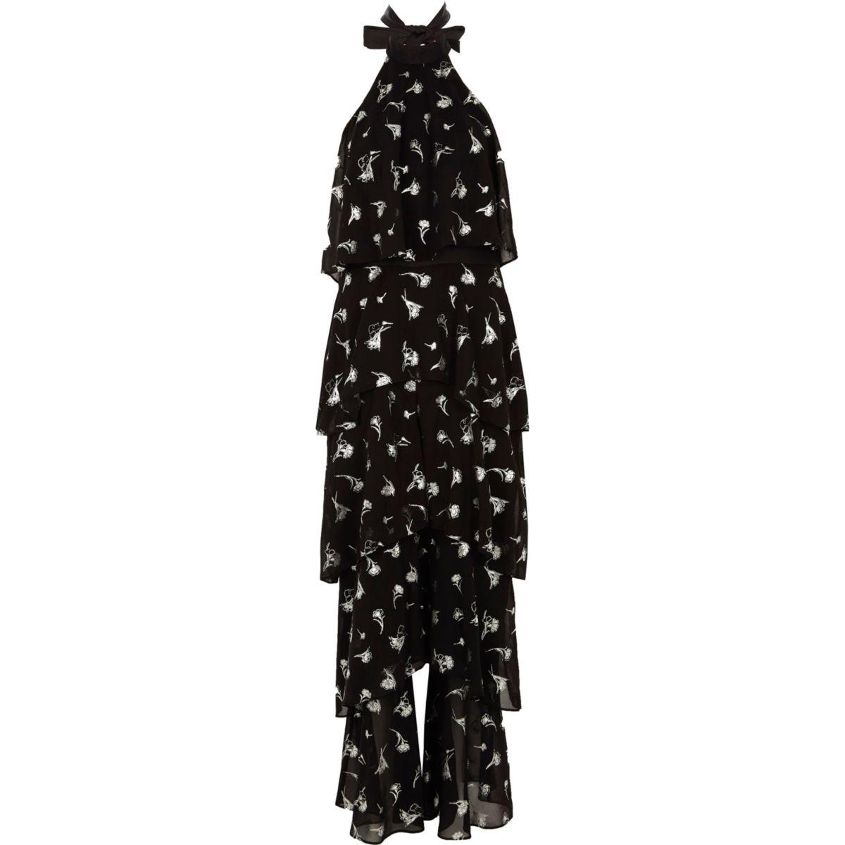 Black foil print wide leg halter jumpsuit