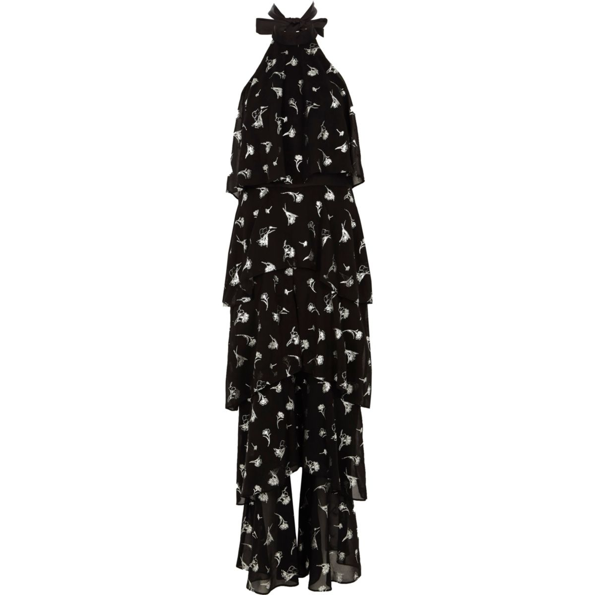 Zwarte jumpsuit met folieprint, wijde pijpen en halternek