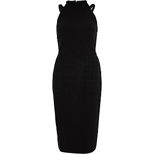 Schwarzes, ärmelloses Bodycon-Kleid mit Schleife hinten