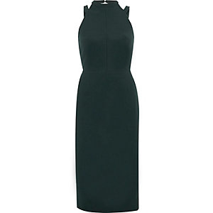 Dark green bow back midi bodycon dress