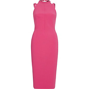 Pink strappy bow back bodycon dress