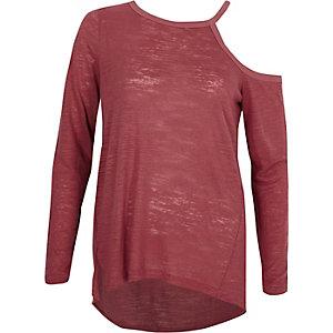 Roze T-shirt met blote schouder en lange mouwen