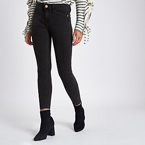 Amelie - Zwarte washed superskinny jeans