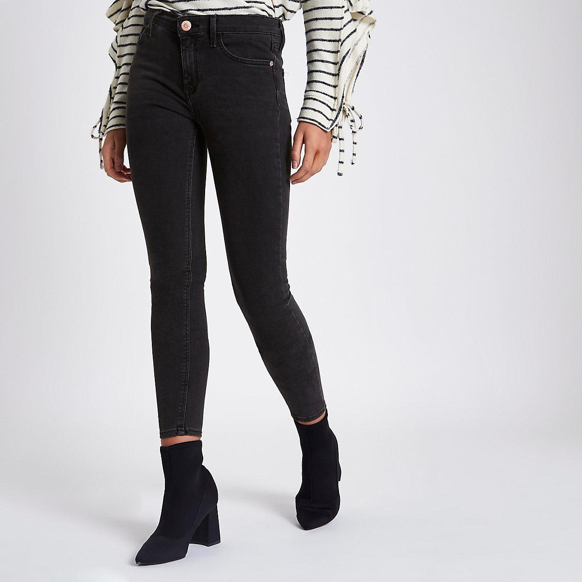 Washed black Amelie super skinny jeans