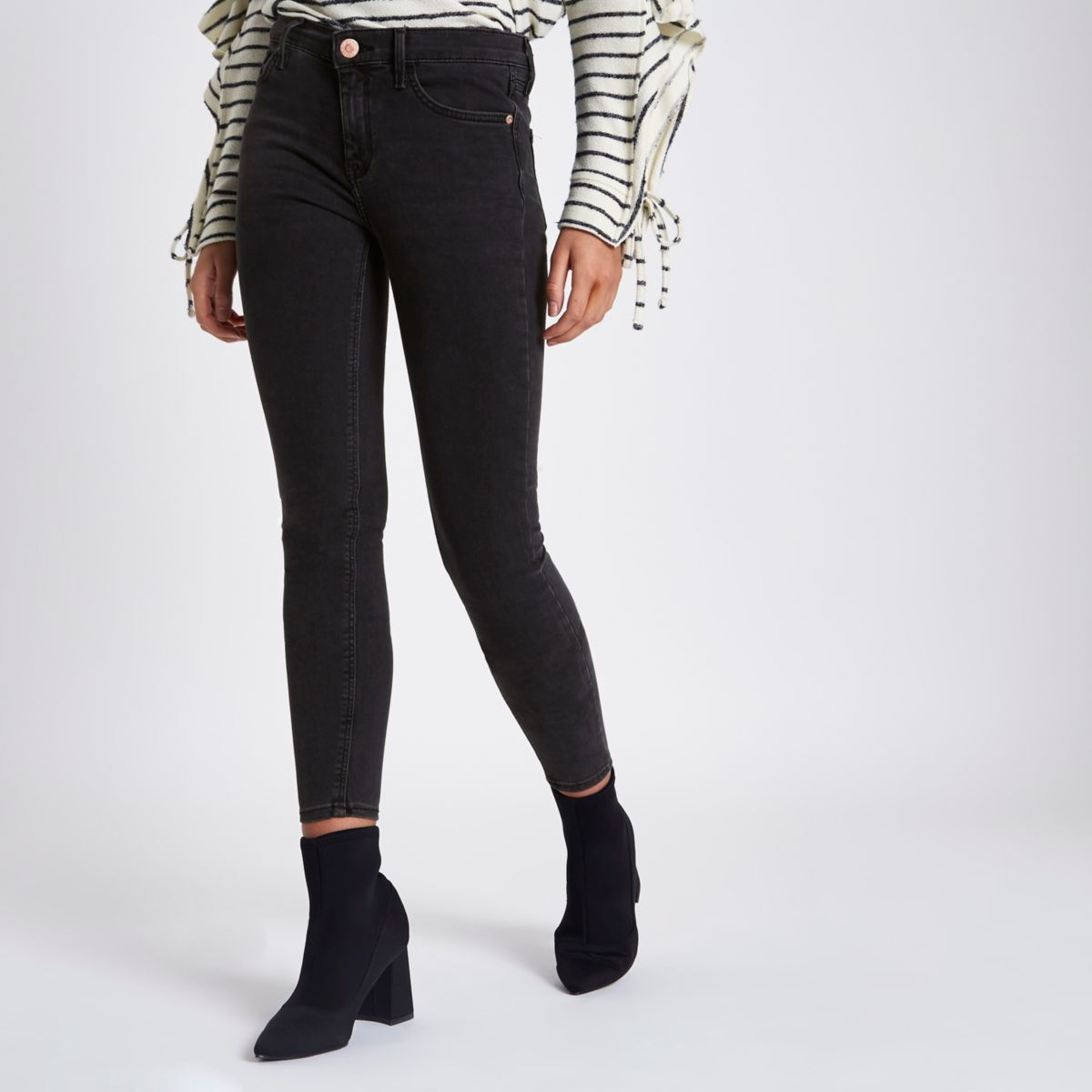 Washed black Amelie super skinny jeans